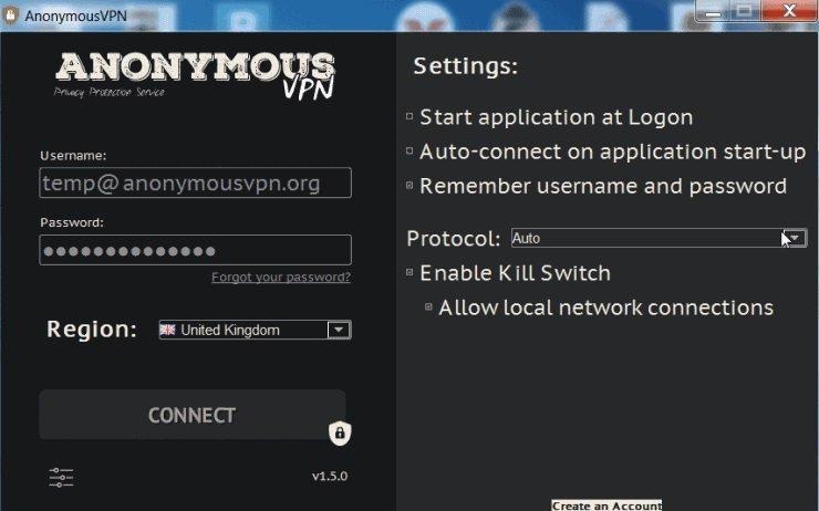 Anonymous vpn настройки