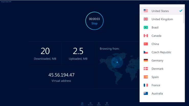 интерфейс Hotspot Shield VPN Elite