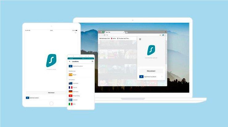интерфейс Surfshark VPN