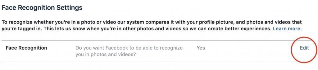 Face recognition settings