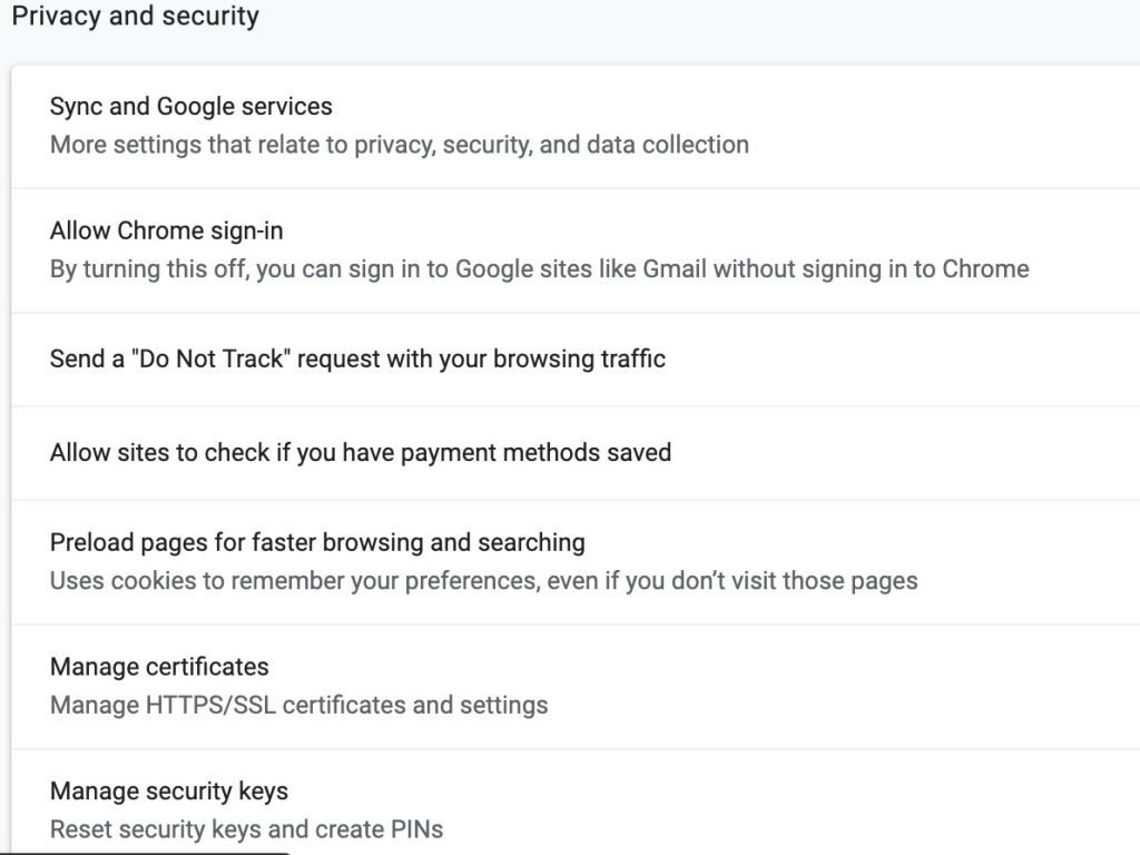 Chrome Security Settings