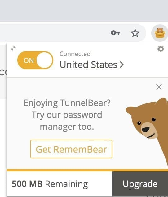 TunnelBear VPN for Chrome free extension